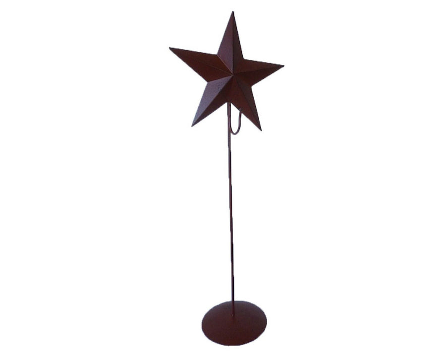 "Birch Maison Decorative Primitive / Farmhouse Tin Star on a Stick with Base and Hook to hold a Wreath, Black - 21"" Tall"