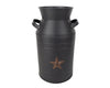 "TIN MILK CAN W/STAR, BLACK 11""  Craft Outlet"