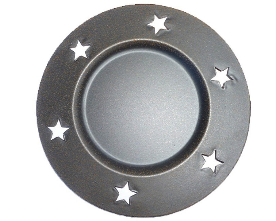 "BLK TIN PLATE W/STAR CUTOUTS 6""DIM  Craft Outlet"