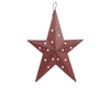 "Birch Maison Decorative Primitive / Farmhouse Tin Country Star Ornament with Cut Outs, Red - 6"" Tall"