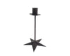 "Birch Maison Decorative Primitive / Farmhouse Tin Candle Stand with Star Base, Black -10"" Tall"