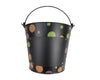 "Birch Maison Decorative Primitive / Farmhouse Tin Pail with Multi Color Polka Dots, Handle and Chalkboard, Black / Multi - 7.5"" Tall"