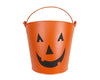 "Birch Maison Decorative Primitive / Farmhouse Tin Pail with Jack-O-Lantern Face, Handle and Chalk Board, Orange - Black - 7.5"" Tall"