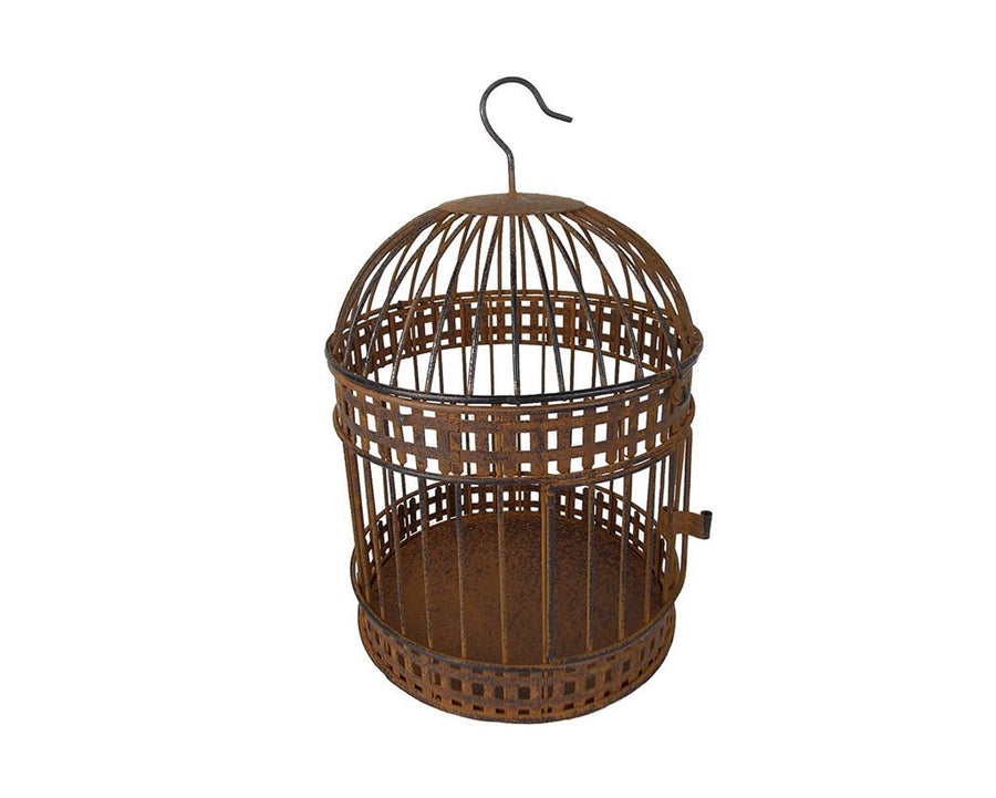 "Birch Maison Decorative Primitive / Farmhouse Wired Tin Bird Cage, Rustic - 10.5"" Tall"