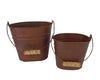 "Birch Maison Decorative Primitive / Farmhouse Tin Pails with Wooden Handle, Rustic, Set of 2 -  6"" Tall, 8"" Tall"