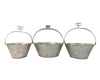 "Birch Maison Decorative Primitive / Farmhouse Galvanized Tin Garden Baskets with Handle, Natural, Set of 3 - 10"" Tall"