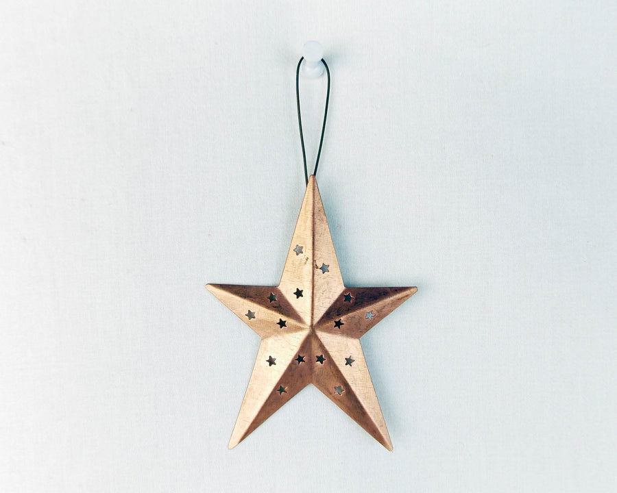 "Tin Star Ornament with Star Cut Outs, Copper-Color - 4"" Tall"