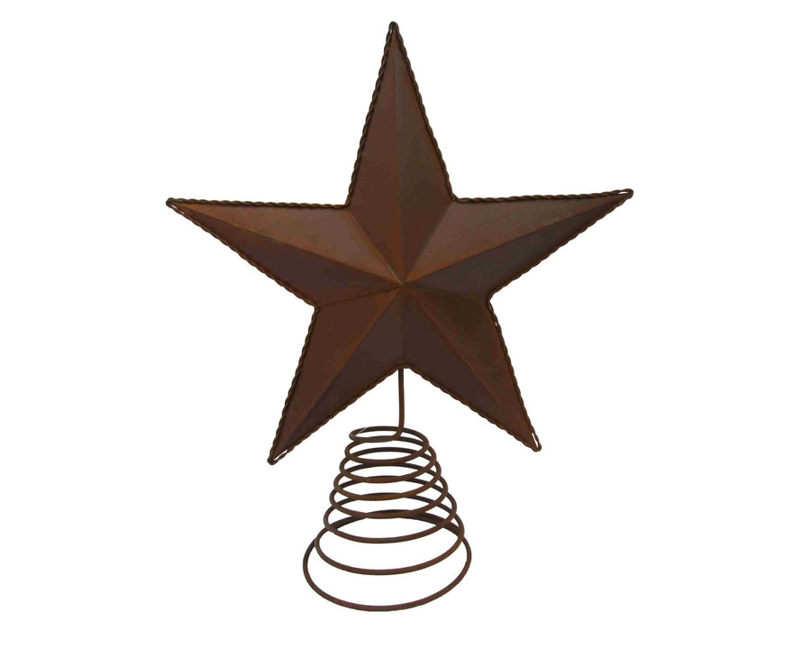 "Tin Star on Wire, Embossed, Rustic - 14"" Tall"