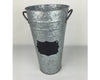 "Birch Maison Decorative Primitive / Farmhouse Galvanized Tin Flower Bucket with Chalkboard and Handles, Natural - 11"" Tall"