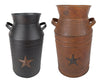 "TIN MILK CAN W/STAR, BLACK 13""  Craft Outlet"