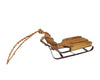 "Birch Maison Decorative Primitive / Farmhouse Metal Sleigh with Wooden Planks and Rope Handles, Natural - 11"" Long"