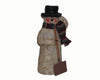 "Birch Maison Decorative Primitive / Farmhouse Standing Paper Mache Snowman with Fabric Scarf, Top Hat and Shovel in his Arm, Off-White - 8.5"" Tall"