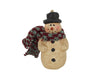 "Birch Maison Decorative Primitive / Farmhouse Paper Mache Snowman Ornament with a Long Knitted Scarf and Top Hat, Off-White - 4"" Tall"