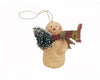 "Birch Maison Decorative Primitive / Farmhouse Paper Mache Snowmen Ornament with a Long Knitted Scarf and PVC Feather Tree in his Arm, Off-White - 4"" Tall"