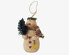 "Birch Maison Decorative Primitive / Farmhouse Paper Mache Snowman Ornament with a Long Knitted Scarf, Wreath and PVC Feather Tree, Off-White - 4"" Tall"