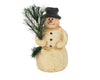 "Birch Maison Decorative Primitive / Farmhouse Standing Paper Mache Snowman with PVC Feather Tree in his Arms - 5"" Tall"
