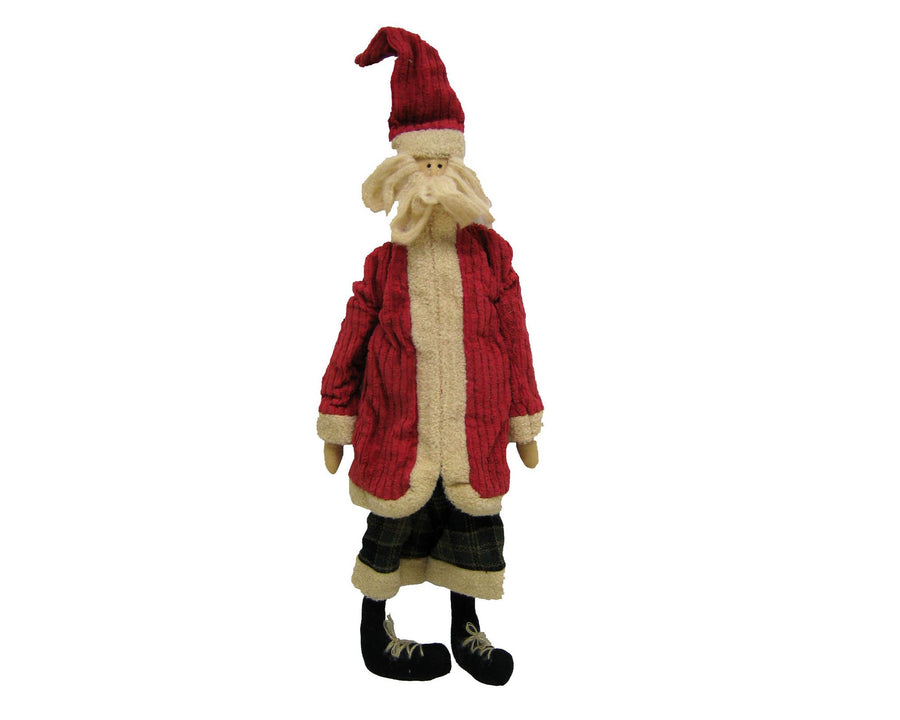 "Birch Maison Decorative Primitive / Farmhouse Standing Chenille ""Old Santa"" with Red Coat and Black Pants - 23.5"" Tall"