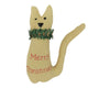 "Birch Maison Decorative Primitive / Farmhouse Fabric Cat Ornament with ""Merry Christmas"" Embroidery, Cream - 4.5"" Tall"