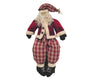 "Standing Fabric ""Silly St. Nick"" Doll with Red Coat, Checkered Red / White Pants, a Wiry Beard and Tin Bells - 18"" Tall"
