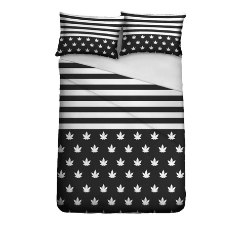 White and Black Weed Flag Bedding Set Polyester Full size 3 piece - Duvet Life