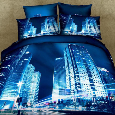 3D Blue Lite Downtown Bedding Set Cotton. Sizes Full, Queen and King. 4 pcs - Duvet Life