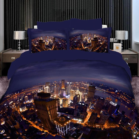 3D Blue and Gold City Bedding Set Cotton. Sizes Full, Queen and King 4 pcs - Duvet Life