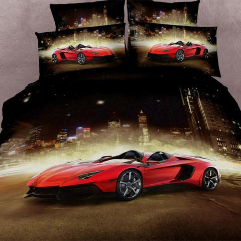 3D Red Sports Car Bedding Set-100% cotton sizes Full, Queen, and King 4 pcs - Duvet Life