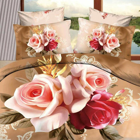 3D Elegant Pink/Red Bouquet Bedding Set. cotton. Sizes Full, Queen, and King 4 pcs - Duvet Life