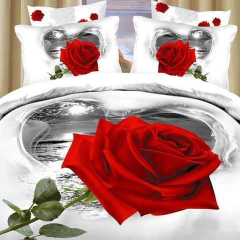 3D White and Red Rose Bedding Set. 100% cotton. Sizes Full, Queen, and King 4 pcs - Duvet Life