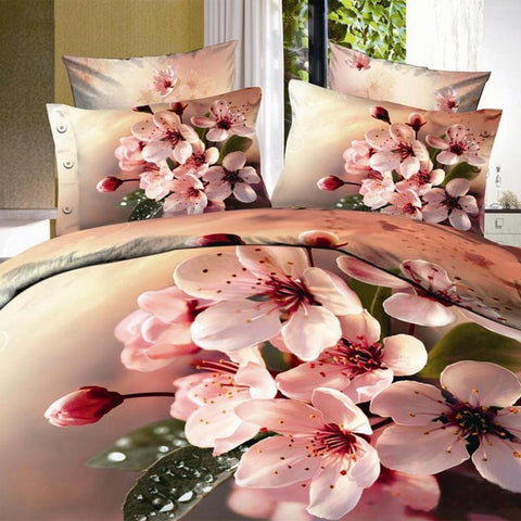 3D Pastel Pink Flower Bedding Set.cotton. Sizes Full, Queen, and King 4 pcs - Duvet Life