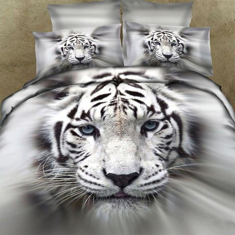 3D Silver and White Tiger Bedding Set 100% Cotton Full, Queen, and King - Duvet Life