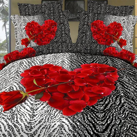 3D Red Rose Heart Bedding Set. 100% Cotton. sizes Full, Queen, and King 4 pcs - Duvet Life