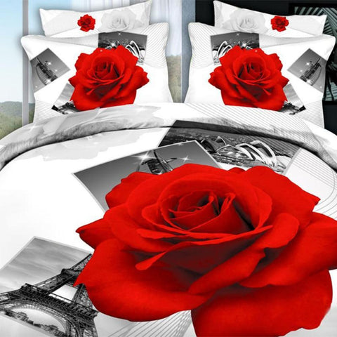 3D Black Red Rose at Eiffel Tower Bedding Set. Cotton. Sizes Full, Queen and King 4 pcs - Duvet Life