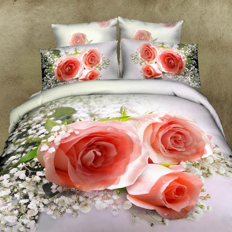 3D Pink Wedding Bouquet Bedding Set. Cotton. Sizes Full, Queen, and King 4 pcs - Duvet Life
