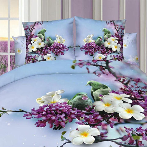 3D Purple and Blue Flowers Bedding Set Cotton. Sizes Full, Queen and King 4 pcs - Duvet Life