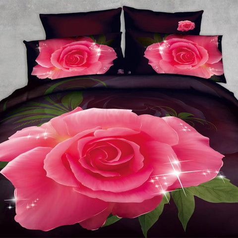 3D Pink and Brown Rose Bedding Set. Cotton. Sizes Full, Queen and King 4 pcs - Duvet Life