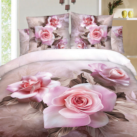 3D Blush Pink Rose Bedding Set. Cotton. Sizes Full, Queen and King 4 pcs - Duvet Life