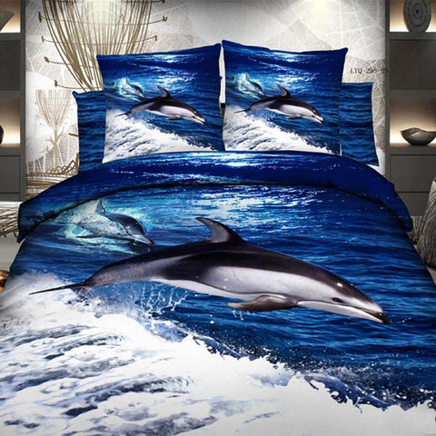3D Diving Dolphins Bedding Set 100% Cotton Full, Queen and King sizes - Duvet Life