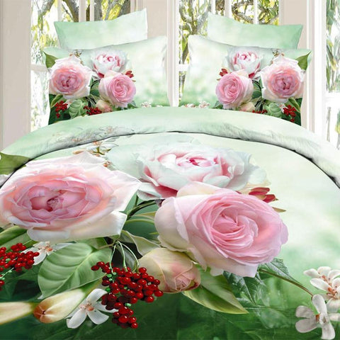 3D White and Pink Roses Bedding Set. 100% Cotton. Sizes Full, Queen, and King 4 pcs - Duvet Life
