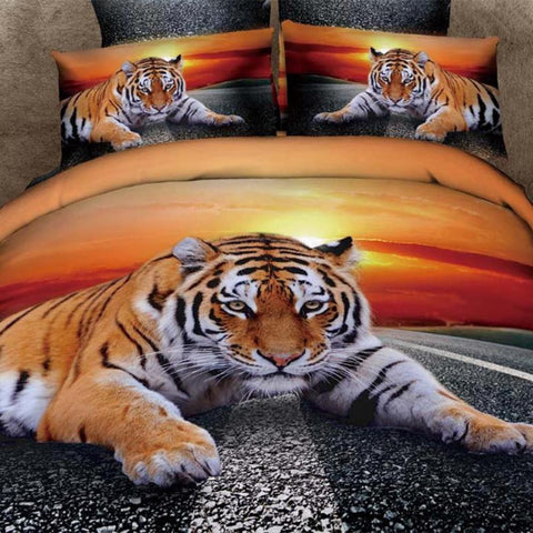 3D Tiger in the Street Bedding Set 100% Cotton Full, Queen, and King sizes - Duvet Life