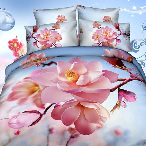 3D Pink Flowers & Blue Sky Bedding Set. Cotton. Sizes Full, Queen and King 4 pcs - Duvet Life