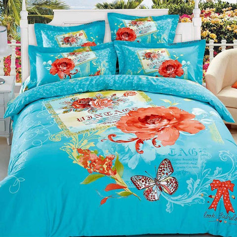 3D Sky Blue and Red Bedding Set 100% Cotton. Sizes Full, Queen and King 4 pcs - Duvet Life