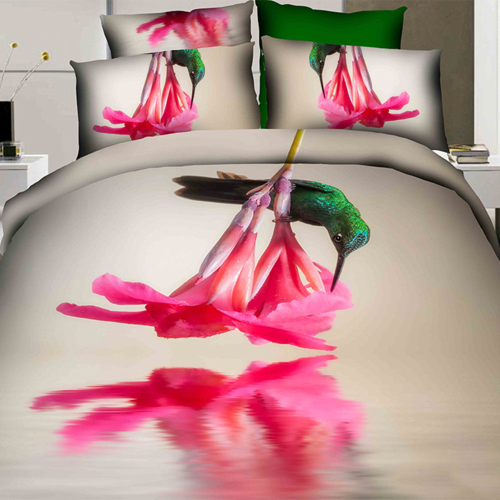 Hot pink flower bedding - 3d Hot Pink Flower Bedding Set Cotton Sizes Full Queen And King 4