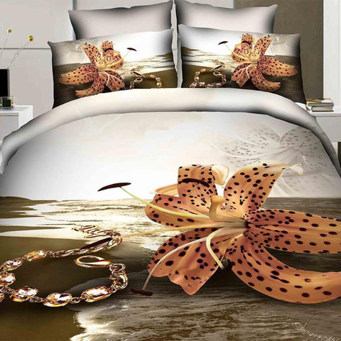 3D Orange Flower Bedding Set. Cotton. Sizes Full, Queen, King 4 pcs - Duvet Life