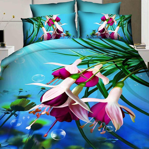 3D Wild Purple Flowers Bedding Set. 100% Cotton. Sizes Full, Queen and King 4 pcs - Duvet Life