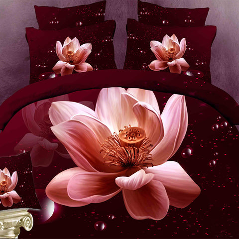 3D Blush Pink Flower Bedding Set. Cotton. Sizes Full, Queen, and King 4 pcs - Duvet Life