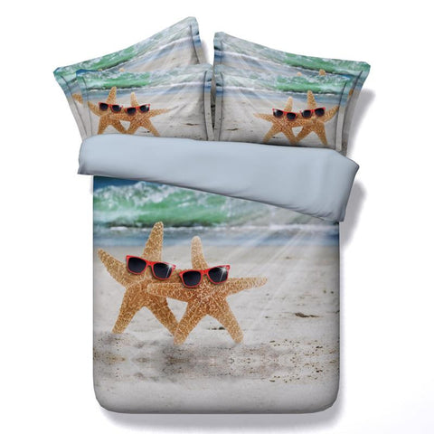 3D Bedding Cool Beach Starfish Cotton 4 Piece Full Queen King - Duvet Life