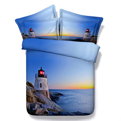 3D Bedding White Lighthouse on Blue Coast Cotton 4 Piece Full Queen King - Duvet Life