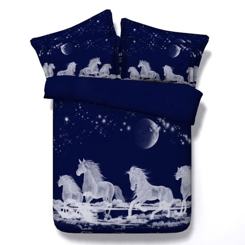 Mystic White Horses in Blue Sky Bedding Set Organic Cotton size Full, Queen and King - Duvet Life