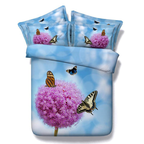 3D Bedding Pink Flower and Butterflies Cotton 4 Piece Full Queen King - Duvet Life